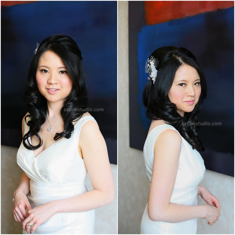 Makeup/hair/ hair accessory are provided by Satine. Without makeup trial prior to the wedding.